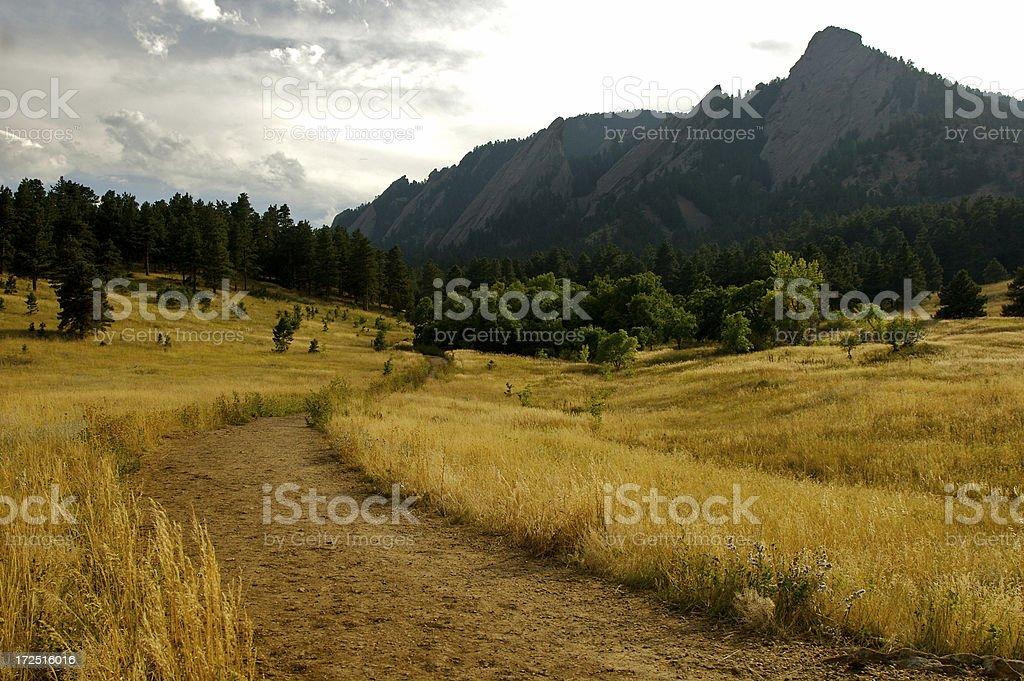 Boulder Flatirons Hiking Trail stock photo