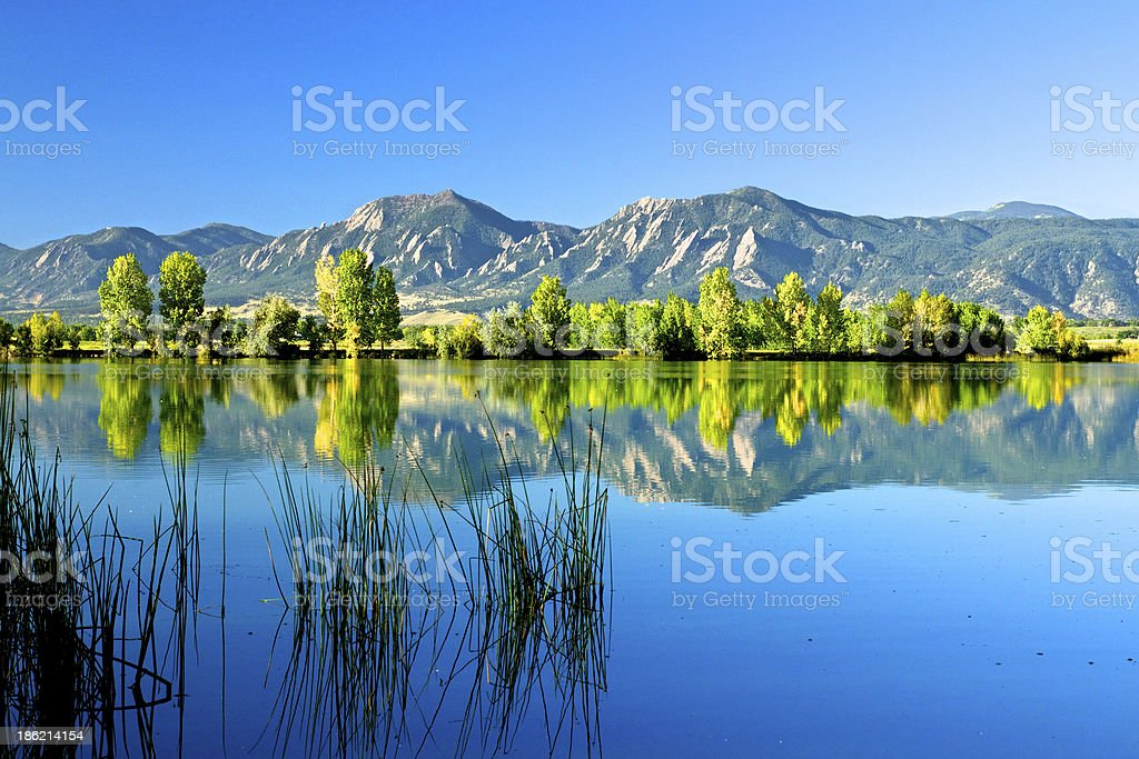 Boulder Flatirons in the fall royalty-free stock photo