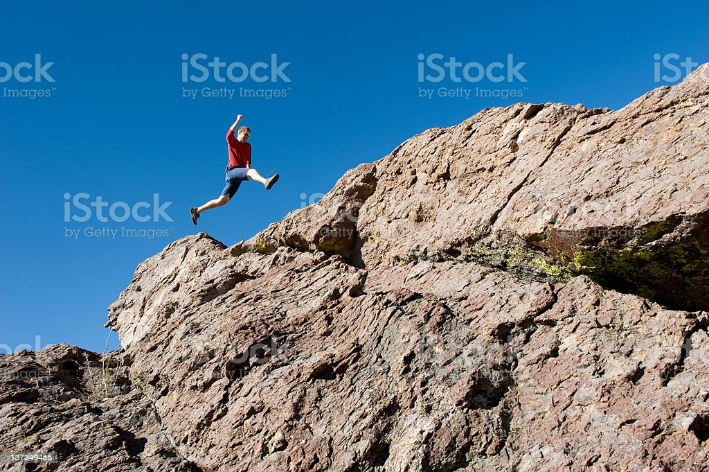 Boulder hopping royalty-free stock photo
