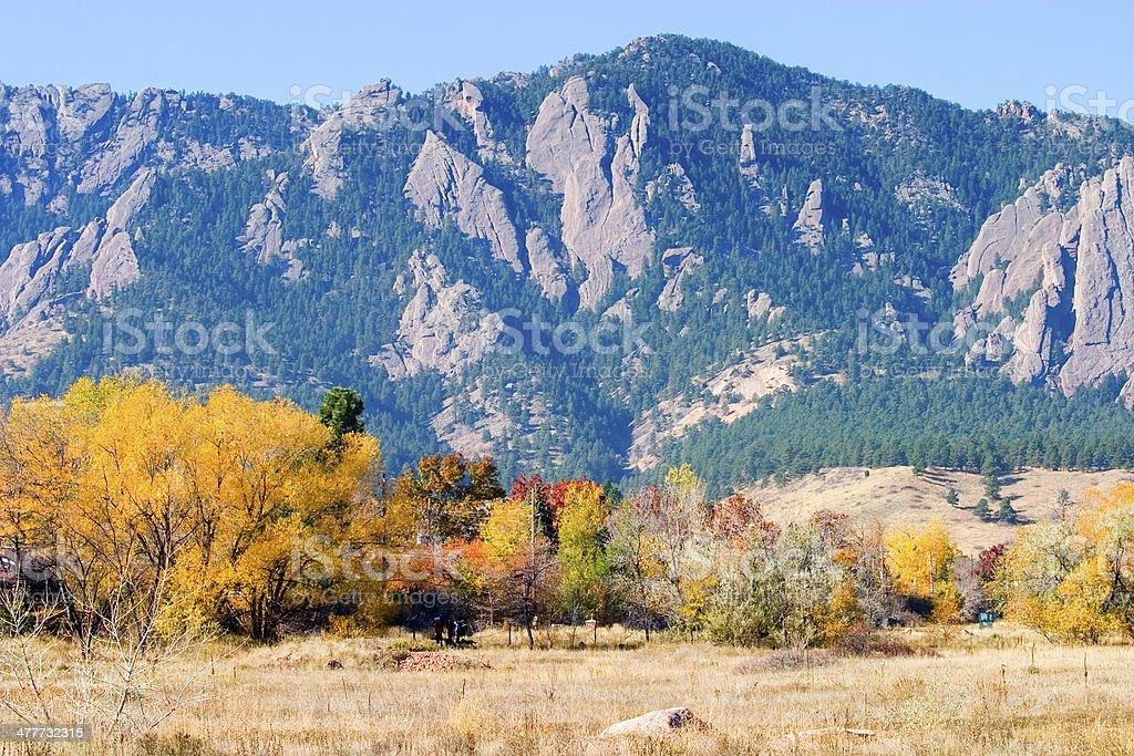 Boulder in Autumn stock photo