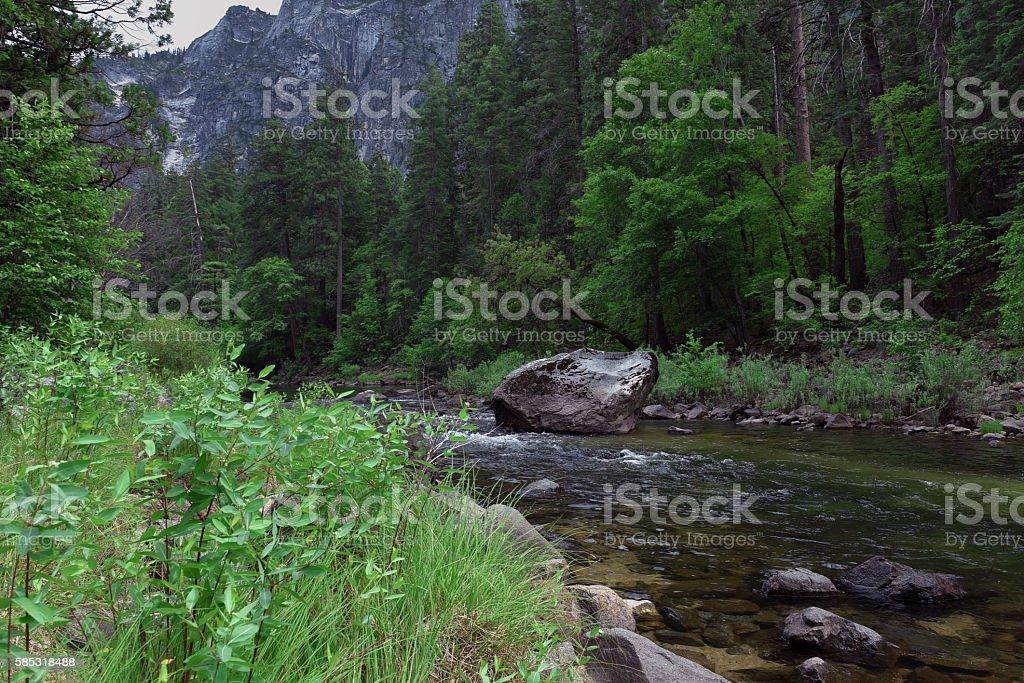 Boulder in Stream stock photo