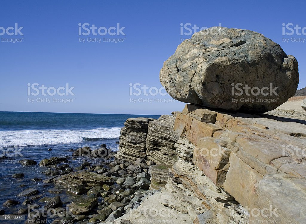 Boulder on the San Diego Shore royalty-free stock photo