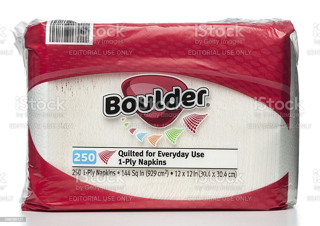 Boulder quilted 1-ply napkins package stock photo