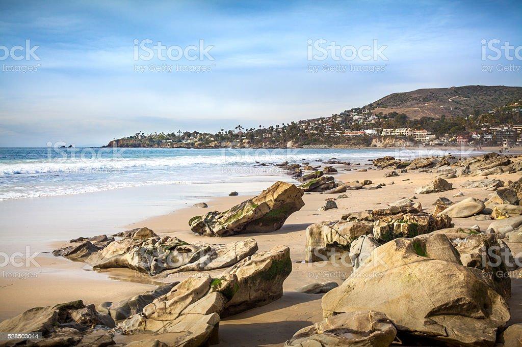 Boulder Strewn Beach At Cheneys Point in Laguna Beach royalty-free stock photo