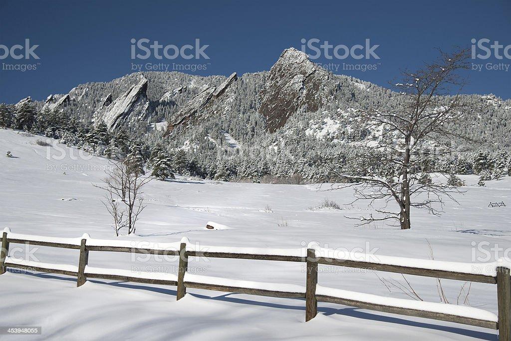 Boulder Winter Flatiron Mountains royalty-free stock photo
