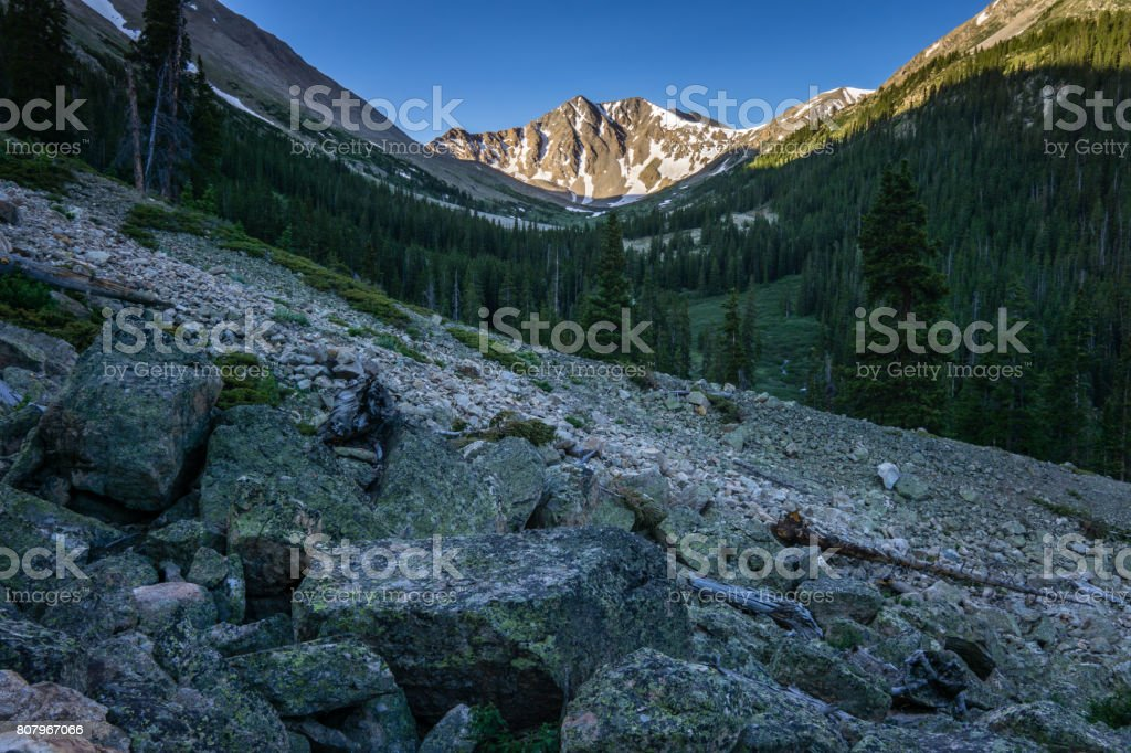 Boulderfield in Colorado Mountains stock photo