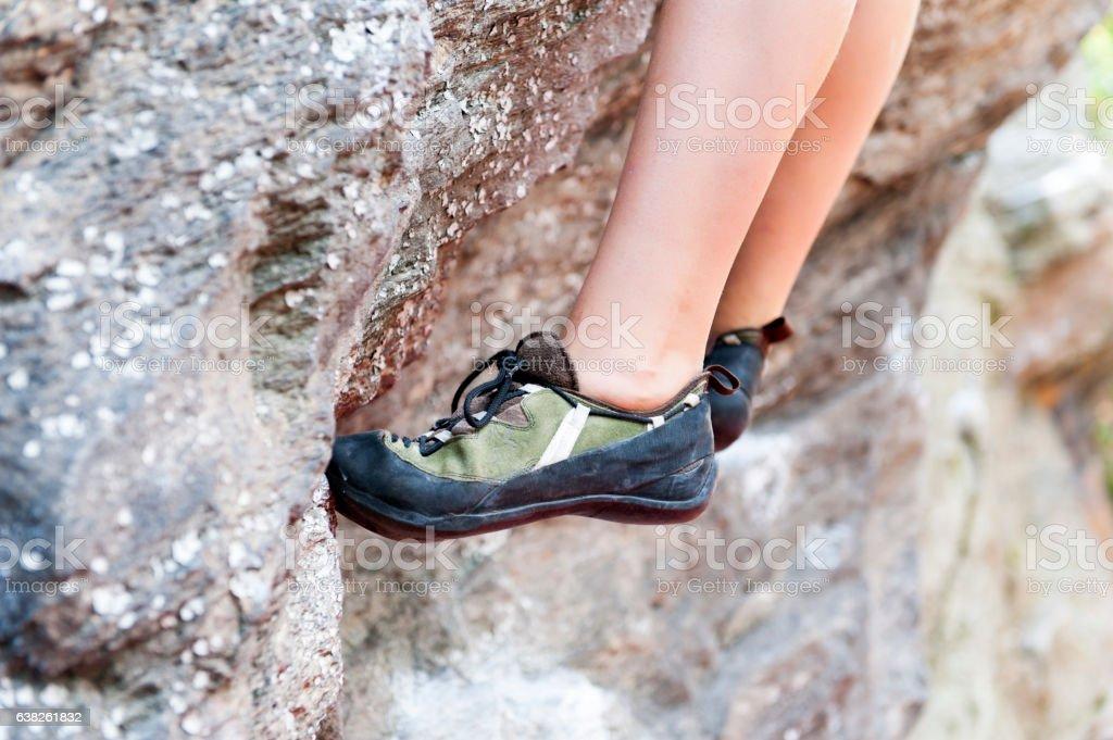 Bouldering, free climbing stock photo