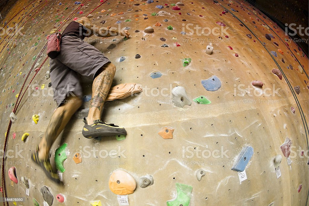 Bouldering on the  Rock Climbing Wall stock photo