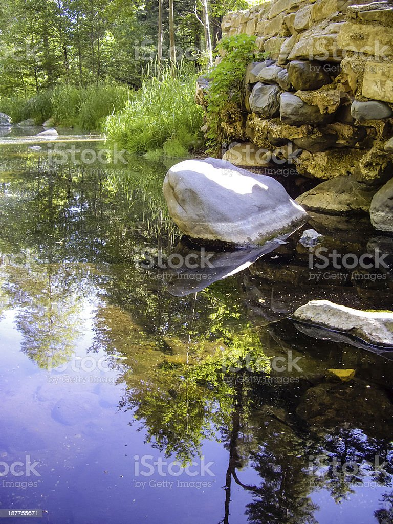 Boulders in a calm creek stock photo