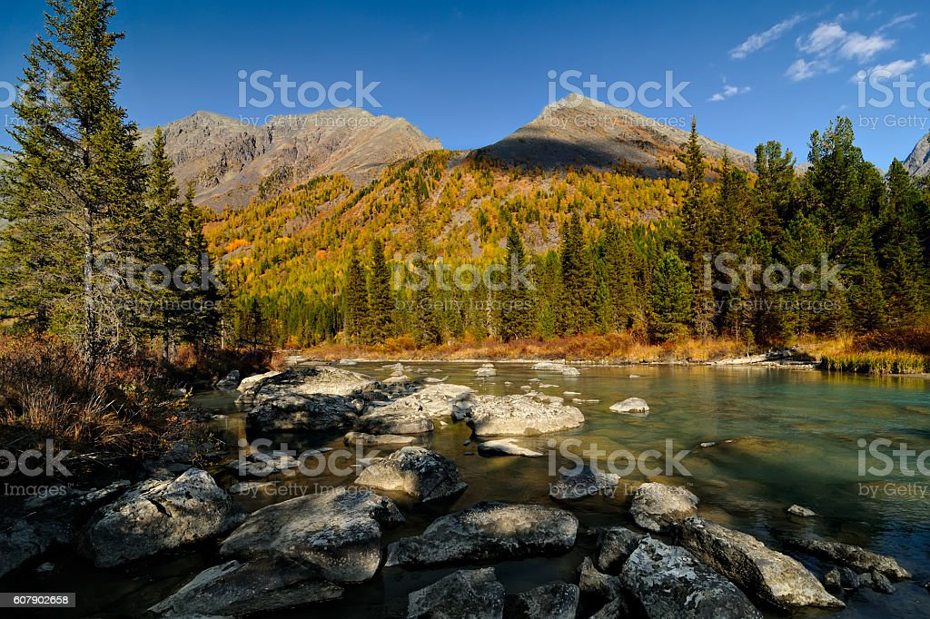 Boulders of the moraine stock photo