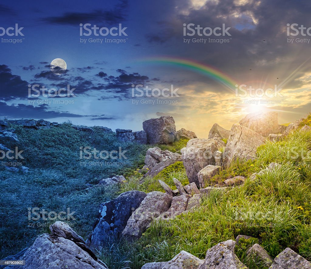 boulders on the mountain meadow with dandelions 24 hour collage stock photo