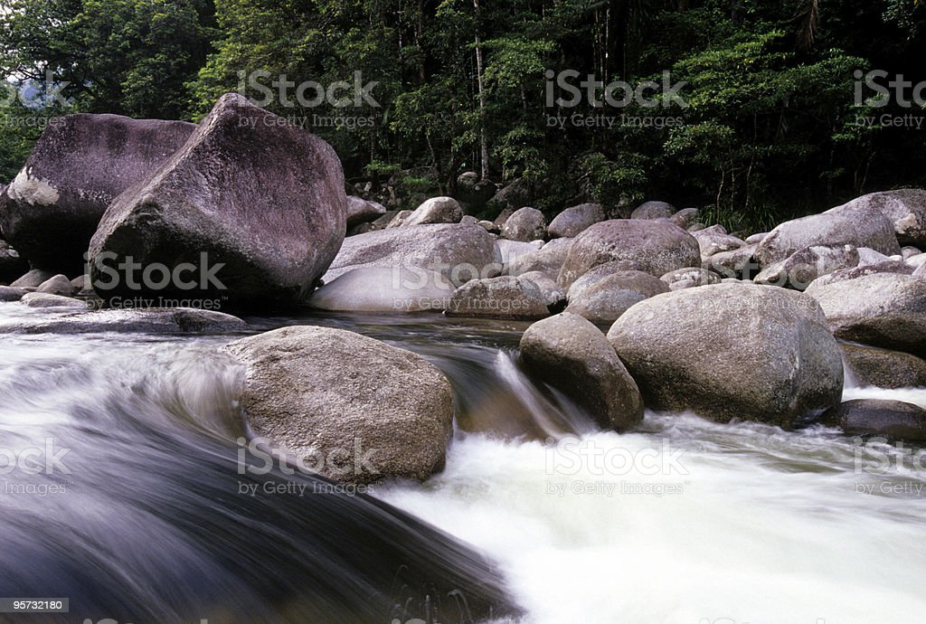 Boulders, Stream and Rainforest, Mossman Gorge, Australia royalty-free stock photo