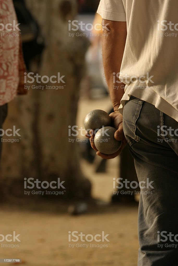 Boules at Sunset stock photo
