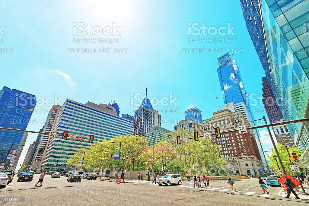 JFK boulevard and Penn Center with skyline of skyscrapers stock photo