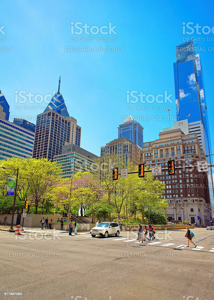 JFK boulevard and Penn Center with skyscrapers stock photo