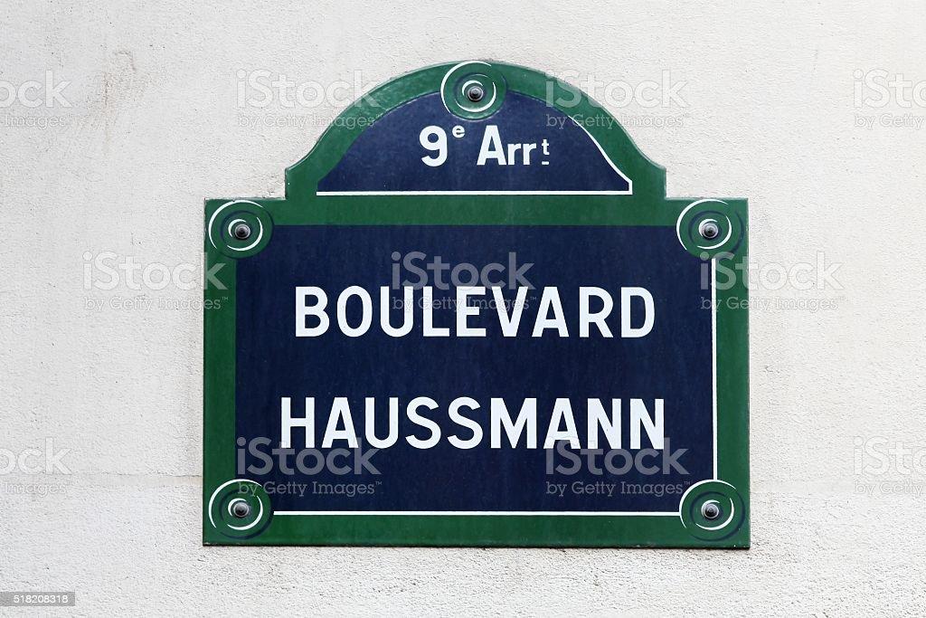 Boulevard Haussmann street sign in Paris, France stock photo