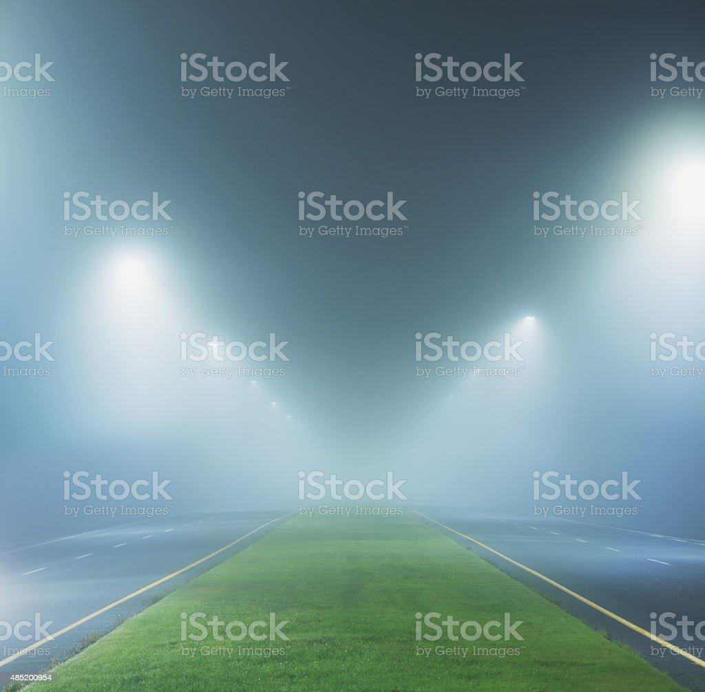 Boulevard in the Fog stock photo