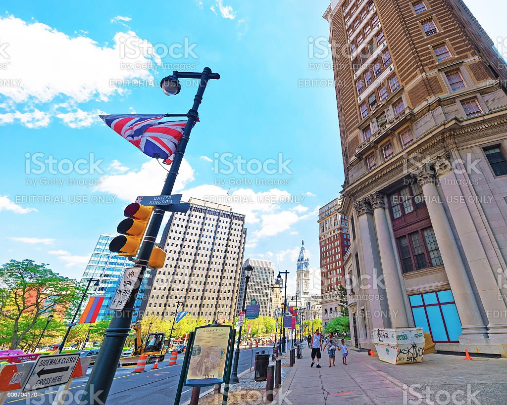 JFK boulevard with skyscrapers and flags in Philadelphia stock photo