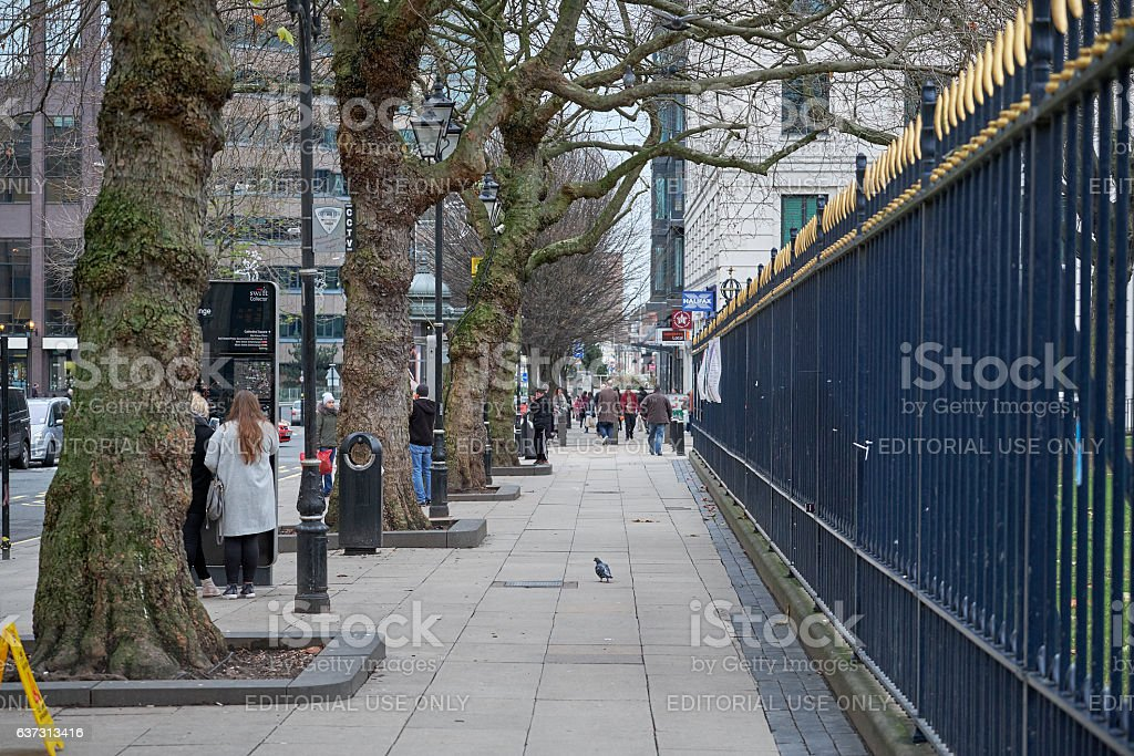 Boulevard with trees and monumental fence in Birmingham, UK stock photo