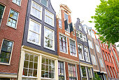 Boulevards and buildings typical of Amsterdam, Netherlands