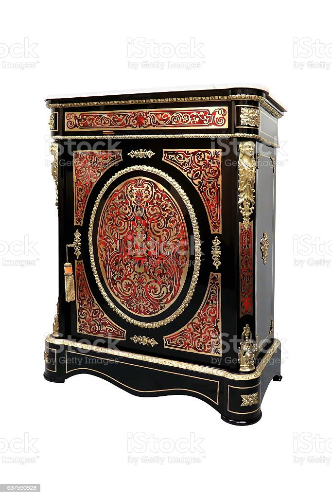 Boulle French Sideboard inlay with red tortoise shell and brass stock photo