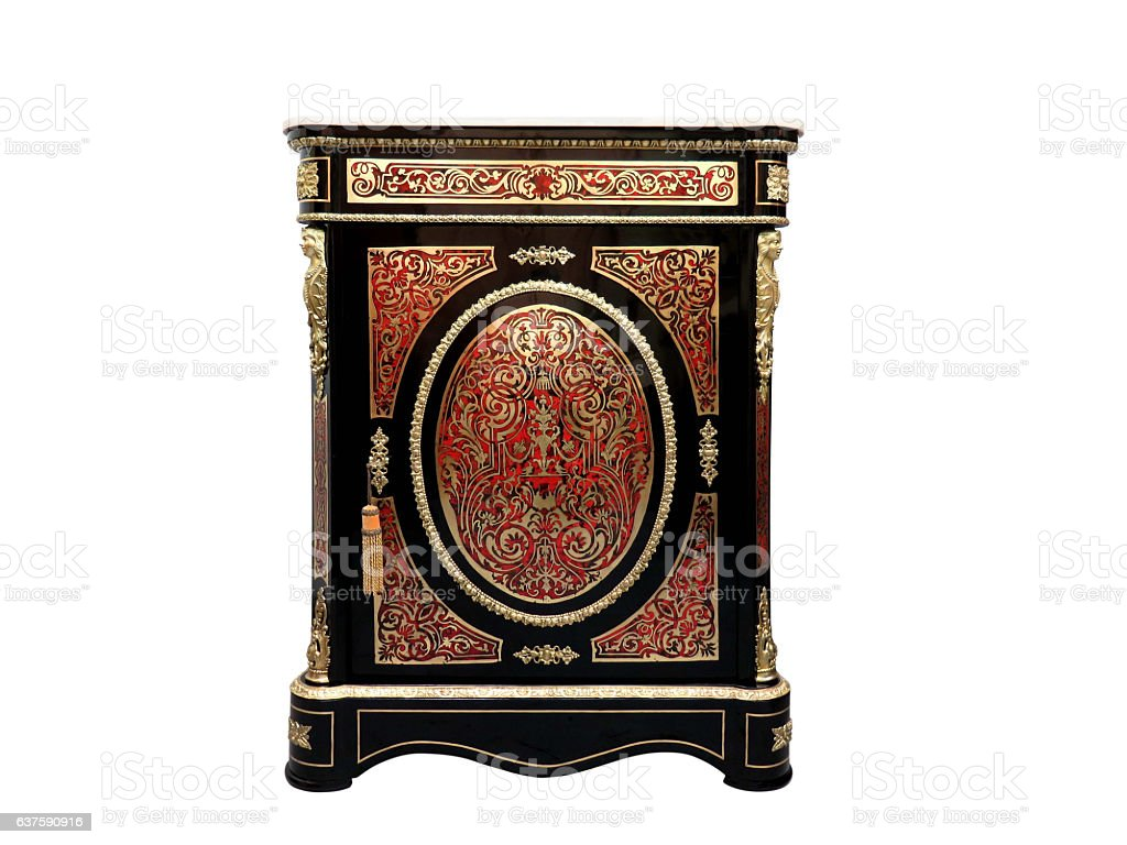 Boulle French Sideboard inlay with red tortoise shell stock photo