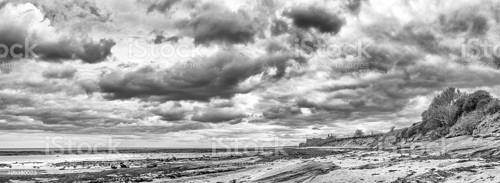 Boulmer beach Northumberland black & white stock photo