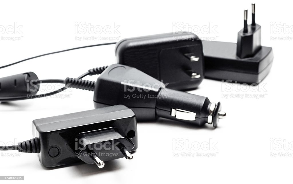 Bounch of mobile phone chargers stock photo