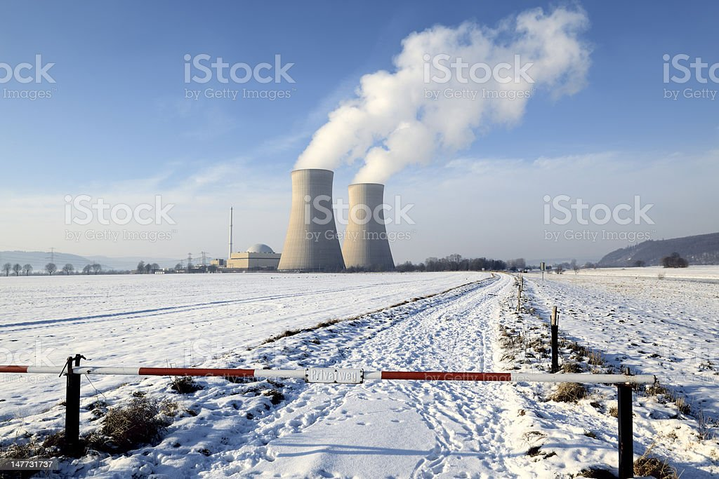 Boundary at Nuclear Power Station with Steaming Cooling Towers (XXXL) stock photo