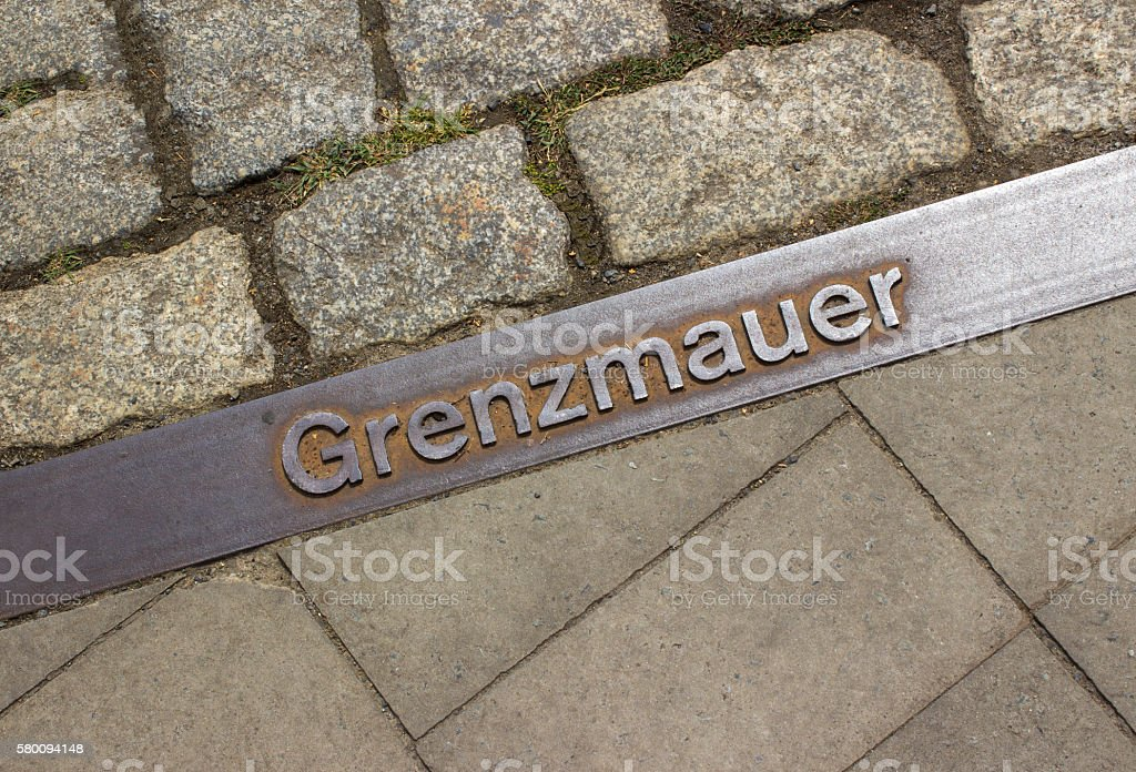 Boundary line separating East Germany and West Germany stock photo