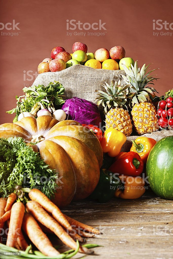 Bountiful harvest of beautiful fruit and vegetables royalty-free stock photo