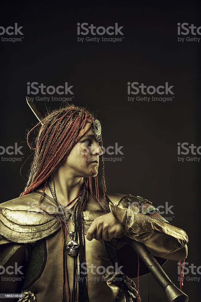 Bounty hunter after fight stock photo