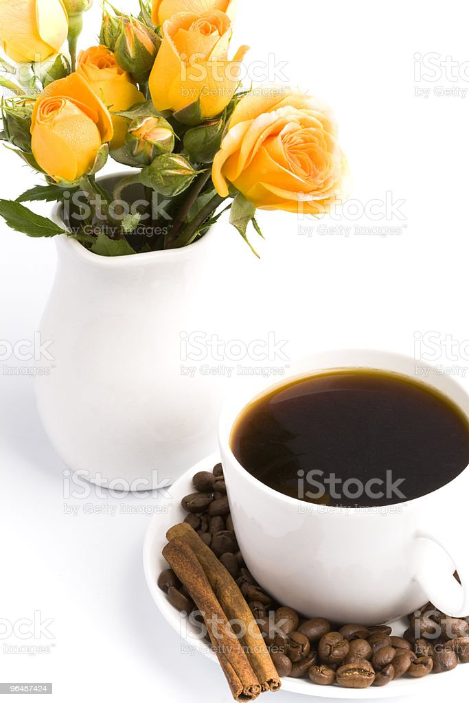 bouquet and cup of coffee royalty-free stock photo