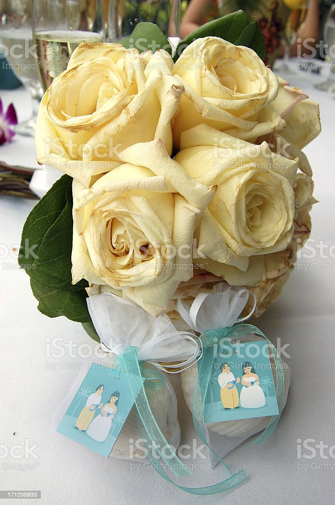 Bouquet and Favors from a beach-themed wedding royalty-free stock photo