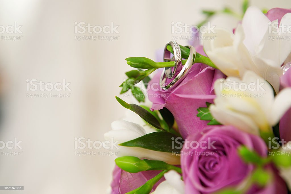 bouquet and wedding dress royalty-free stock photo