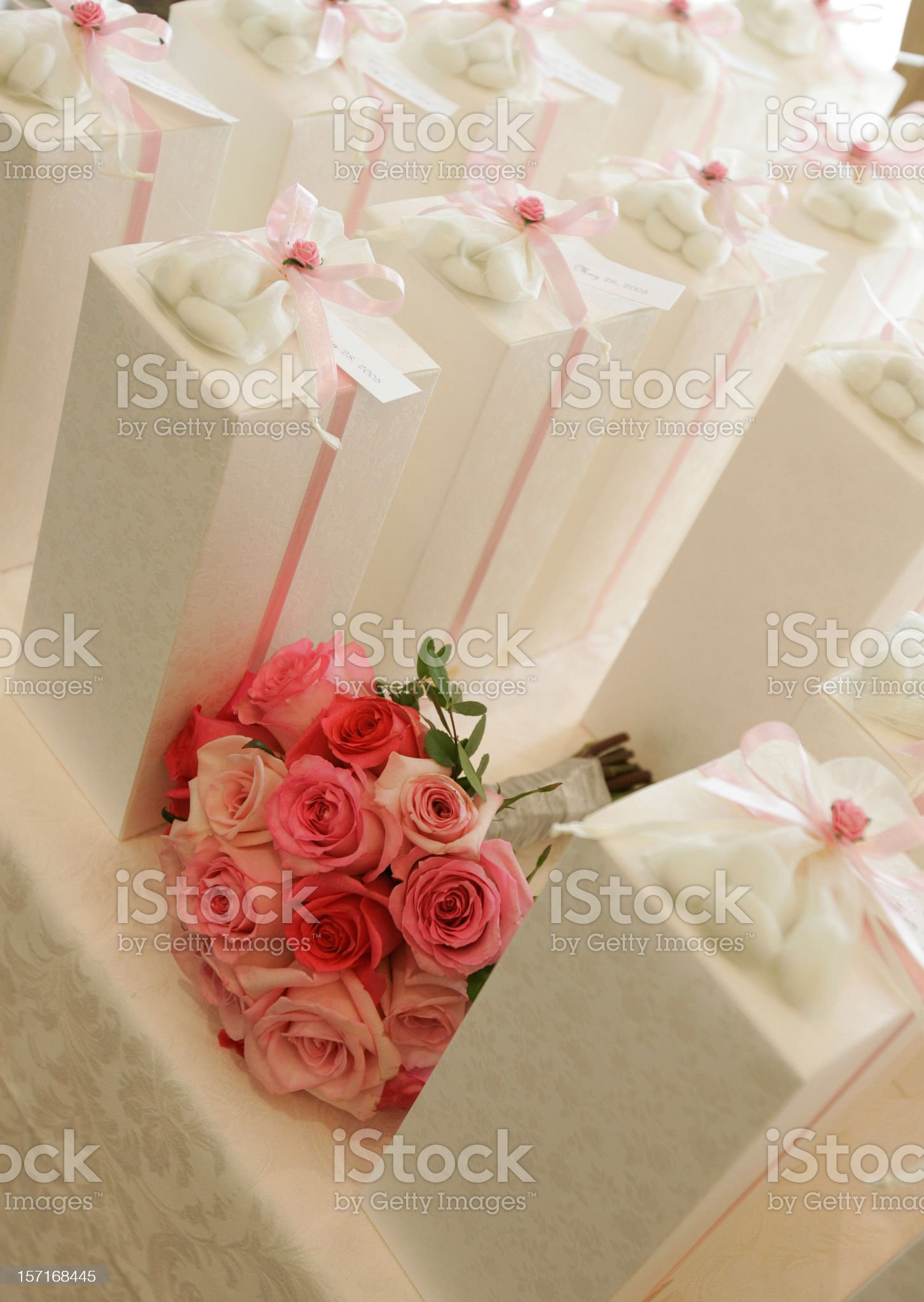 Bouquet and wedding gifts royalty-free stock photo
