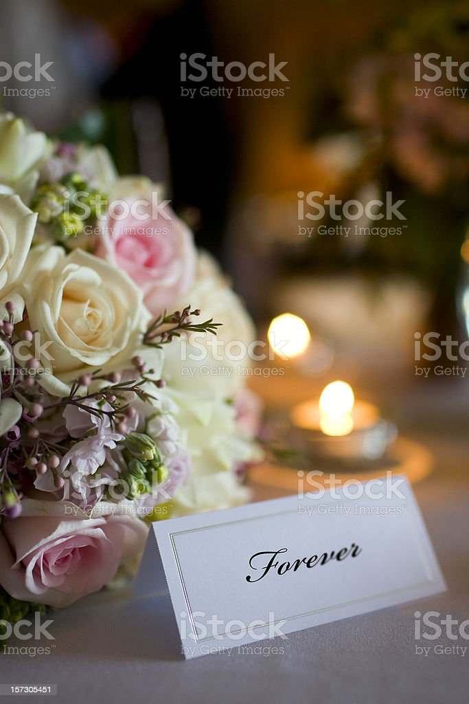 Bouquet and Wedding Reception Table Setting with Place Card, Copyspace royalty-free stock photo