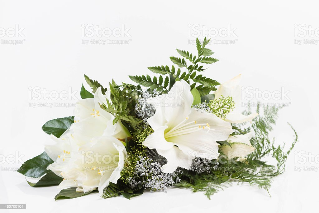 bouquet composition with white amaryllis stock photo