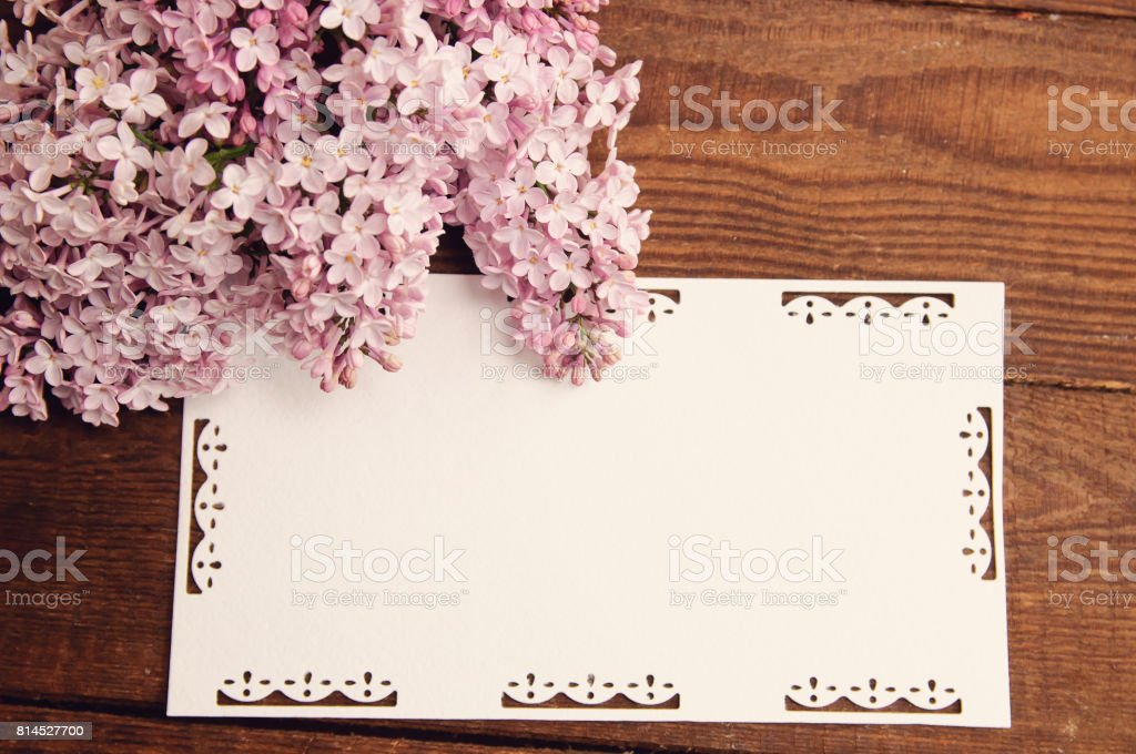 bouquet flowers of pink lilac attached greeting cards stock photo