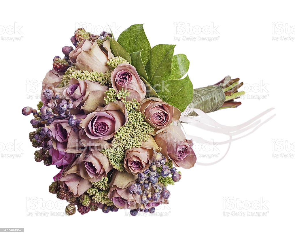 Bouquet for bride isolated on white background. stock photo