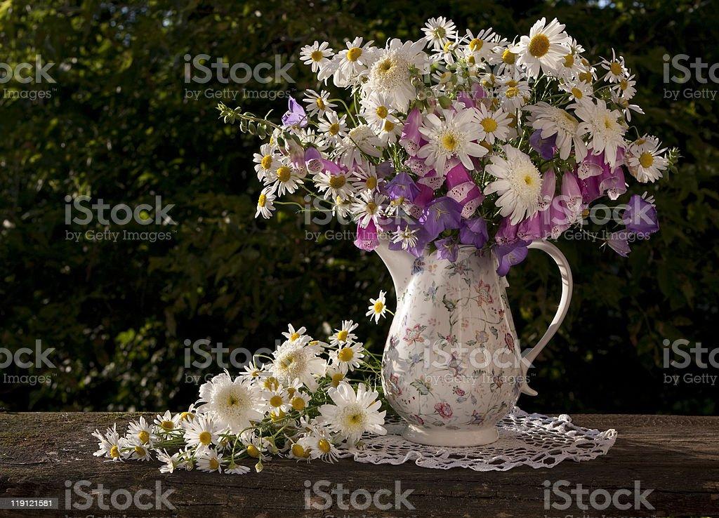 bouquet foxglove flower, bluebells, Chamomile royalty-free stock photo