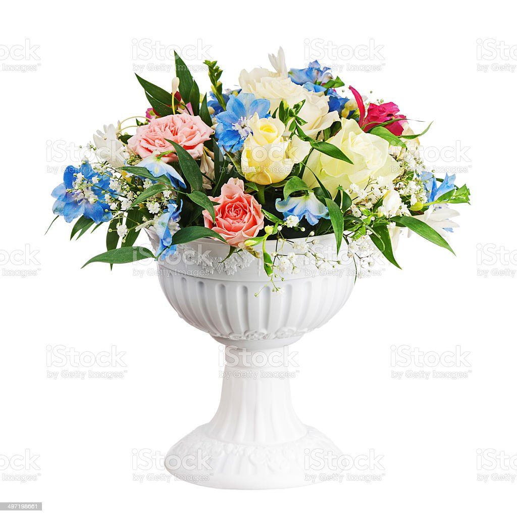 Bouquet from flowers in vase isolated on white background. royalty-free stock photo
