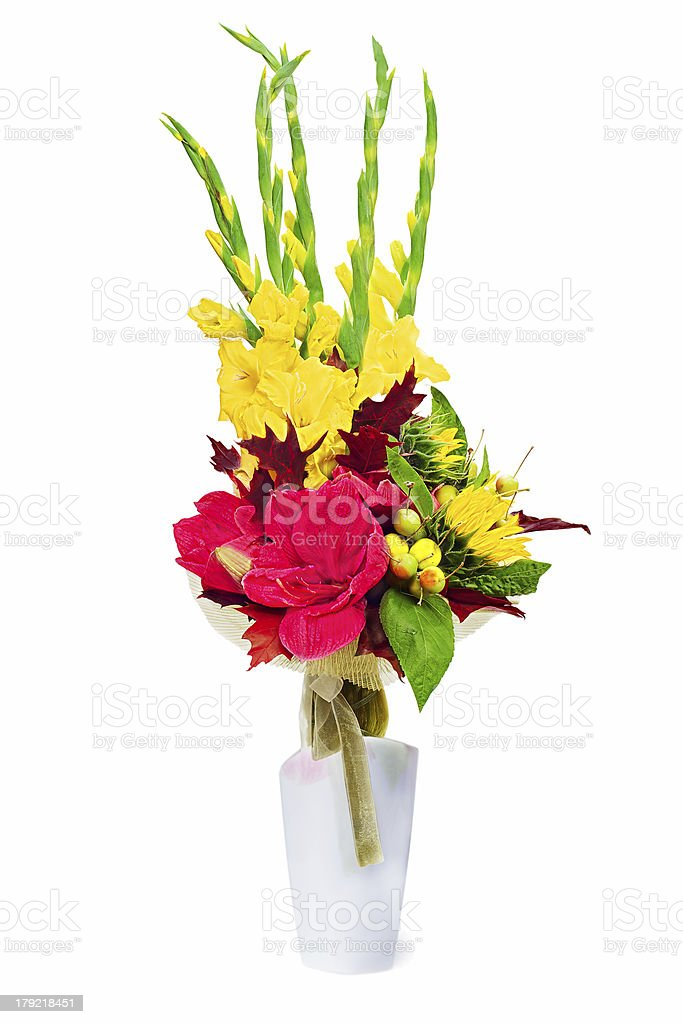 Bouquet from gladioluses arrangement centerpiece in vase. royalty-free stock photo