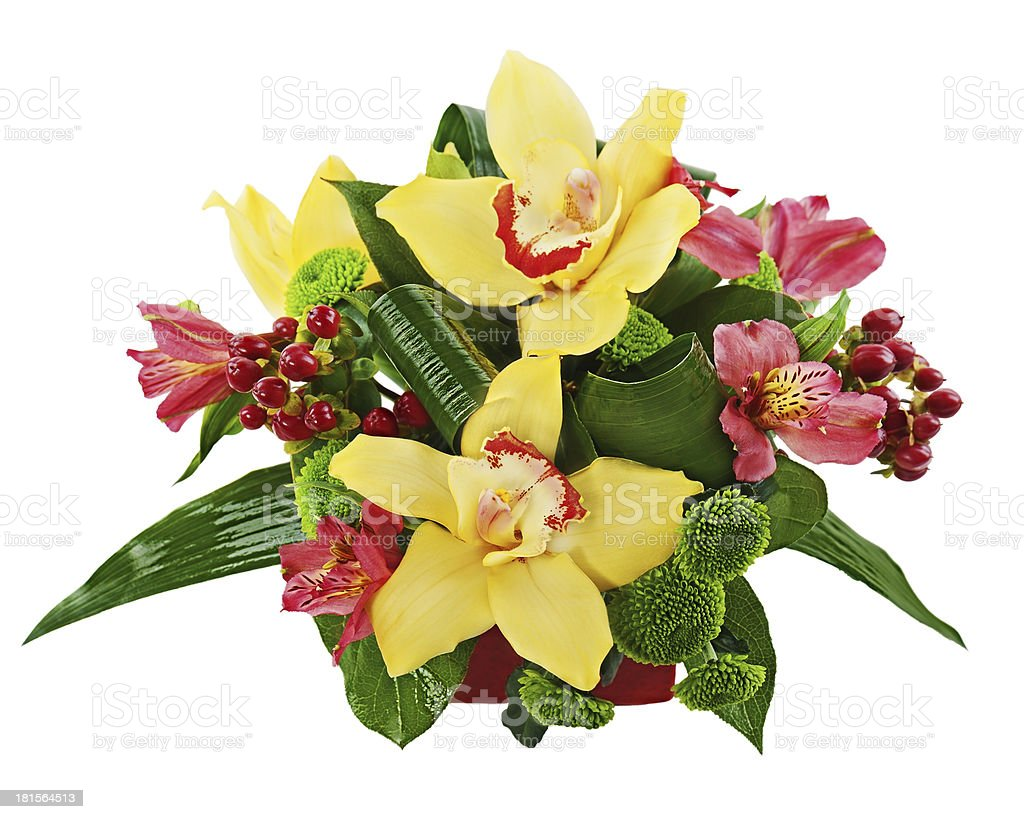 Bouquet from orchids and lilies in vase isolated on white royalty-free stock photo