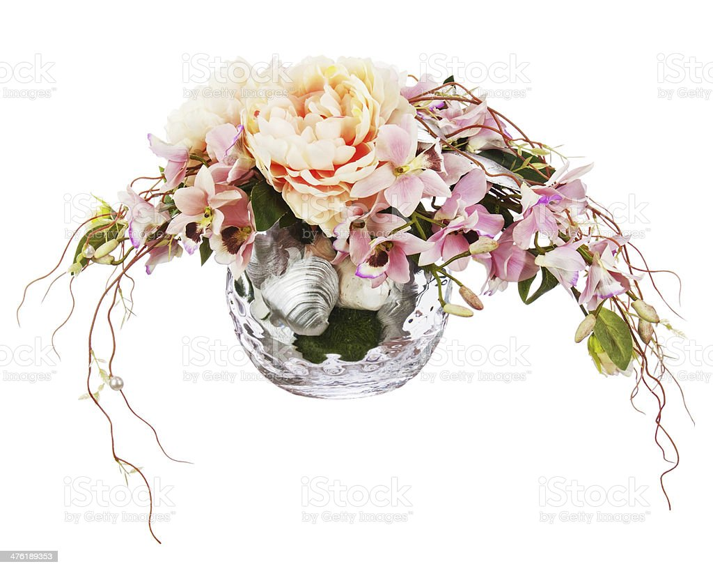 Bouquet from peon flowers and orchids. royalty-free stock photo