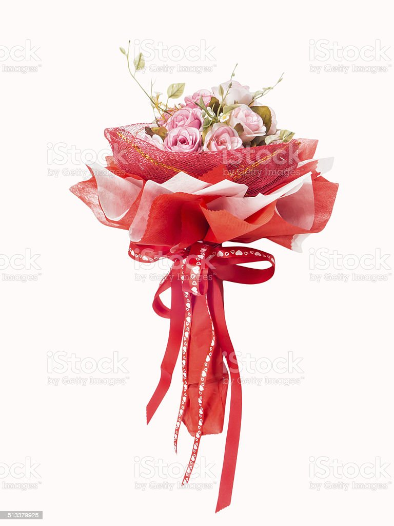 bouquet from pink roses with red ribbon stock photo