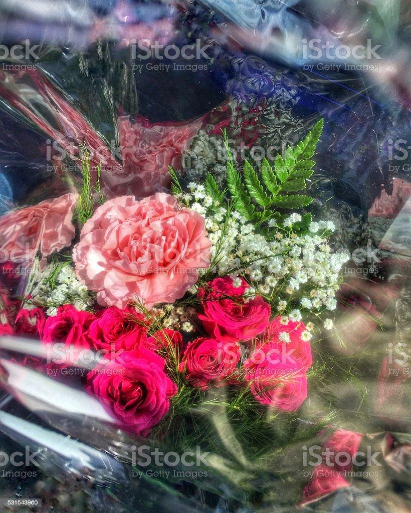 Bouquet in cellophane stock photo