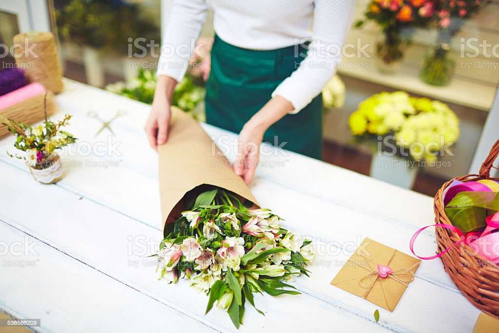 Bouquet in paper stock photo