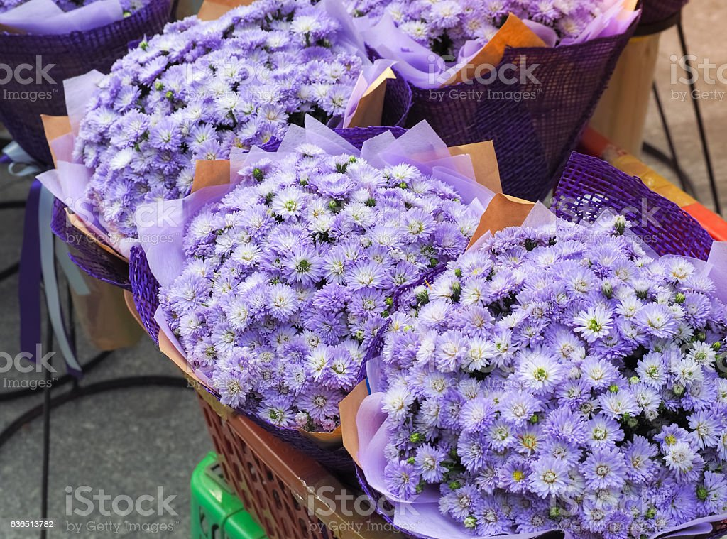 Bouquet Made From Little Purple Flowers Bunch stock photo 636513782 ...