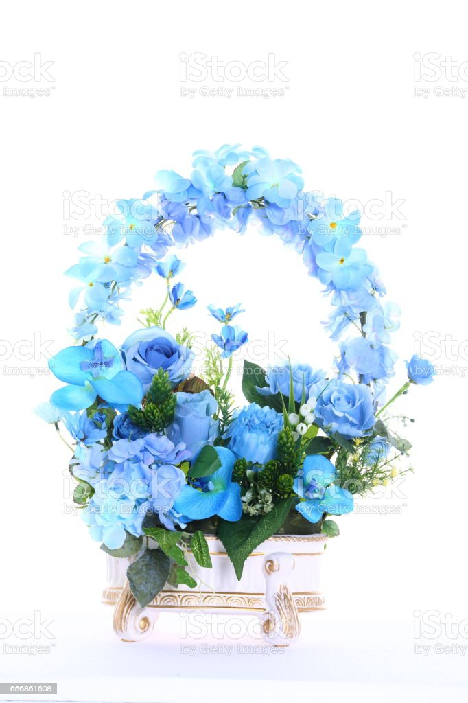 Bouquet of Artificial Flower Colorful, white background stock photo